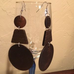 3 Part Natural Wood Fashion Earrings